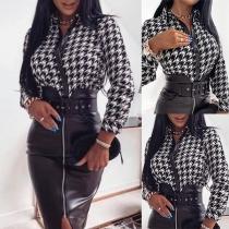 Fashion PU Leather Spliced Long Sleeve POLO Collar Printed Shirt