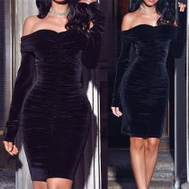 Sexy Off-shoulder Boat Neck Long Sleeve Solid Color Slim Fit Party Dress