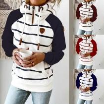Fashion Contrast Color Striped Spliced Long Sleeve Hooded Sweatshirt