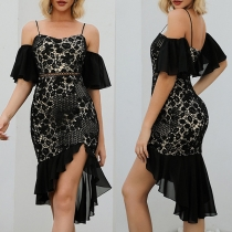 Sexy Off-shoulder Short Sleeve Irregular Fishtail Hem Sling Party Dress