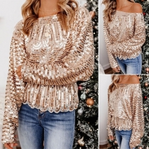 Chic Style Long Sleeve Round Neck Sequin T-shirt