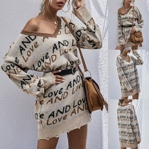 Fashion Long Sleeve V-neck Letters Printed Knit Dress