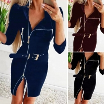 Fashion Solid Color Long Sleeve Front-zipper Slim Fit Dress