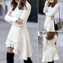 Fashion Solid Color Long Sleeve Turtleneck High-low Hem Sweater Dress