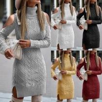 Sexy Off-shoulder Long Sleeve Turtleneck Solid Color Slim Fit Sweater Dress
