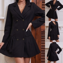 OL Style Long Sleeve Double-breasted Ruffle Hem Solid Color Suit Dress