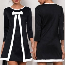 Sweet Style Long Sleeve Round Neck Contrast Color Bow-knot Knit Dress