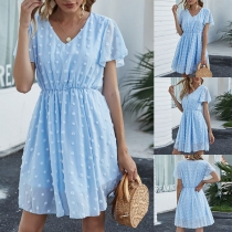 Sweet Style Short Sleeve V-neck High Waist Dress
