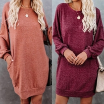 Fashion Solid Color Long Sleeve Round Neck Loose Dress