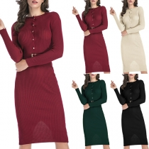 Elegant Solid Color Long Sleeve Round Neck Slim Fit Dress with Waistband