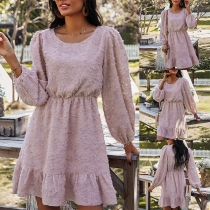 Fashion Solid Color Long Sleeve Round Neck Ruffle Hem A-line Dress