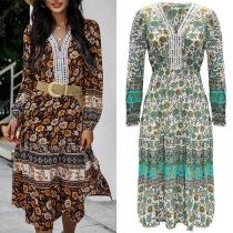 Bohemian Style Long Sleeve V-neck Printed Dress