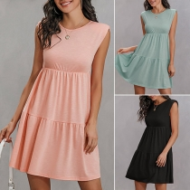 Fashion Solid Color Sleeveless Round Neck High Waist Dress