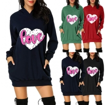 Fashion Heart Letters Printed Long Sleeve Hooded Sweatshirt Dress