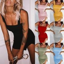 Sexy Backless Slit Hem Solid Color Slim Fit Sling Dress