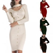Sexy Hollow Out Round Neck Long Sleeve Solid Color Slim Fit Knit Dress