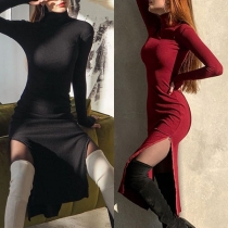 Elegant Solid Color Long Sleeve Mock Neck Slit Hem Slim Fit Dress