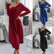 Fashion Solid Color Long Sleeve Round Neck Dress