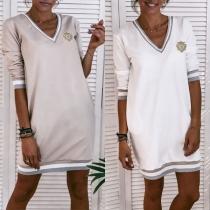 Fashion Contrast Color Long Sleeve V-neck Sweatshirt Dress
