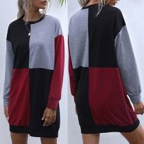 Fashion Contrast Color Long Sleeve Round Neck Sweatshirt Dress