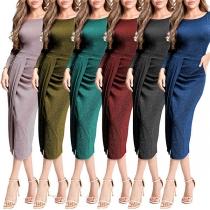 Elegant Solid Color Long Sleeve Round Neck Irregular Party Dress
