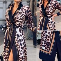 Sexy V-neck Slit Hem Leopard Printed Shirt Dress