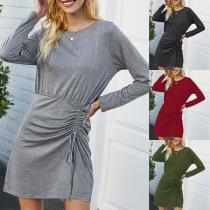 Fashion Solid Color Long Sleeve Round Neck Wrinkled Dress