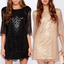 Sexy Backless Half Sleeve Sequin Spliced Hollow Out Dress