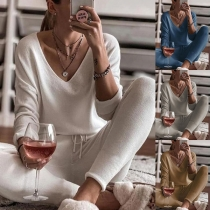 Fashion Solid Color Long Sleeve V-neck T-shirt + Pants Two-piece Set