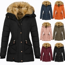 Fashion Solid Color Long Sleeve Hooded Plush Lining Padded Coat