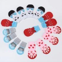 Cute Cartoon Pattern Contrast Color Socks for Pets 2 Pair/Set
