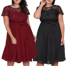 Sexy Lace Spliced Short Sleeve Round Neck Plus-size Dress