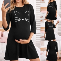 Cute Cat Printed 3/4 Sleeve Round Neck Dress