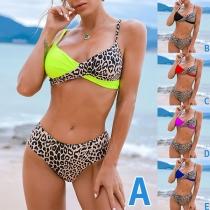 Sexy Leopard Spliced Contrast Color Bikini Set