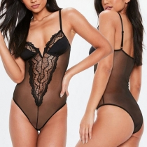 Sexy Backless V-neck See-through Lace Sling Bodysuit Lingerie