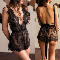 Sexy Backless V-neck Sleeveless See-through Lace Romper Lingerie