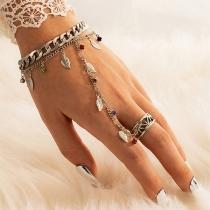 Bohemian Style Leaf Tassel Pendant 2 In 1 Ring Bracelet