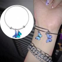 Sweet Style Butterfly Pendant Alloy Bracelet