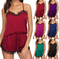 Sexy Lace Spliced Sling Top + Shorts Nightwear Set