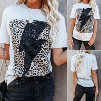 Casual Style Leopard Spliced Lightning Pattern Short Sleeve T-shirt
