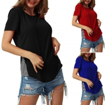 Fashion Striped Spliced Hem Short Sleeve Round Neck T-shirt