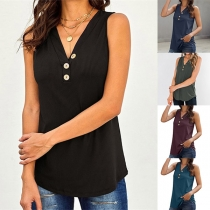 Fashion Solid Color Sleeveless V-neck Top