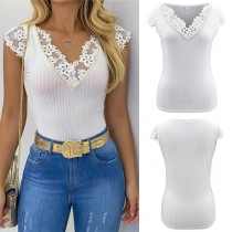 Sexy Lace Spliced Short Sleeve V-neck SLim Fit T-shirt