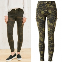 Fashion Middle-waist Side-pocket Camouflage Printed Pants