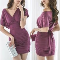 Sexy V-neck Short Sleeve Solid Color High Waist Dress