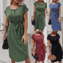 Simple Style Short Sleeve Round Neck Solid Color Dress