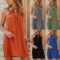 Sexy Off-shoulder Solid Color Halter Dress