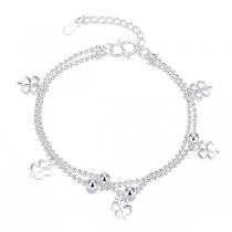 Fashion Clover Pendant Silver-tone Bracelet