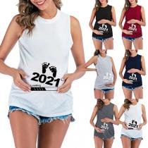 Simple Style Sleeveless Round Neck Footprint Printed Maternity T-shirt
