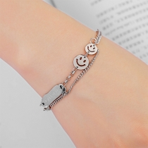 Creative Style Silver-tone Smiling Face Bracelet